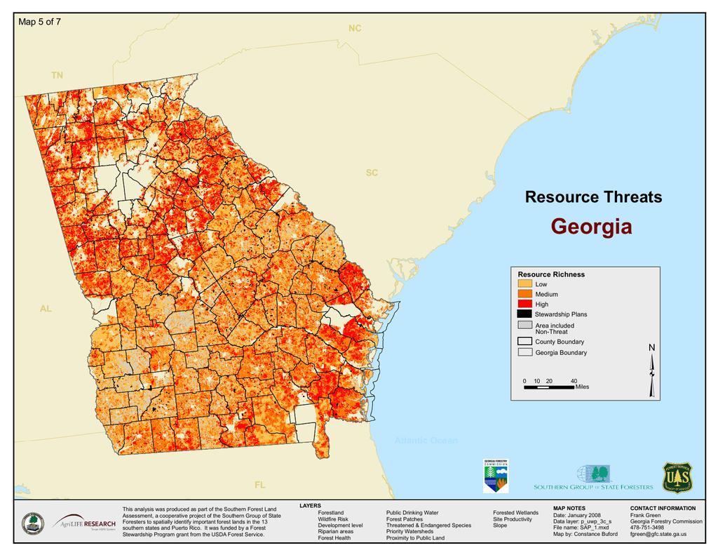 Georgia Resource Threats Map 5 Of 7