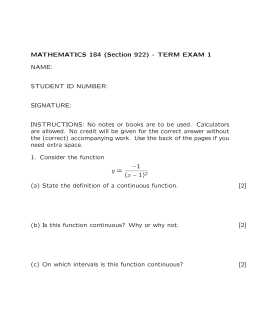 MATHEMATICS 184 (Section 922) - TERM EXAM 1 NAME: STUDENT ID NUMBER: SIGNATURE: