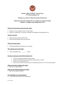 Boston College SAMPLE Consent Form 5 Grade Reading Level