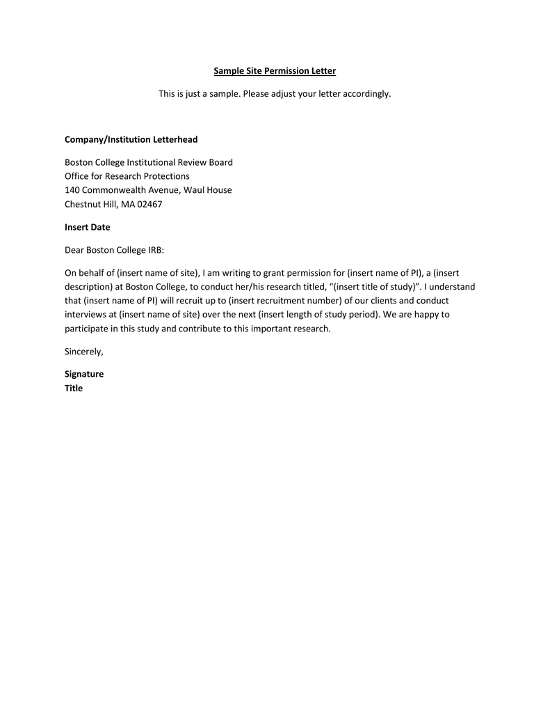 Sample site permission letter companyinstitution letterhead altavistaventures Images