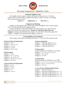 Housing Assignments: Eligibility Codes
