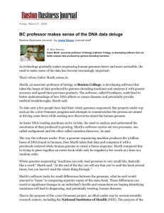 BC professor makes sense of the DNA data deluge