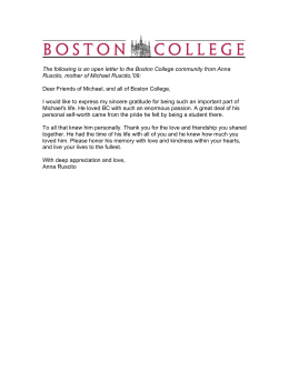 The following is an open letter to the Boston College... Ruscito, mother of Michael Ruscito,'09: