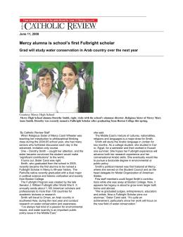 Mercy alumna is school's first Fulbright scholar June 11, 2009