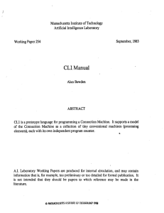 CL1 Manual Massachusetts  Institute of Technology Artificial  Intelligence Laboratory 1983