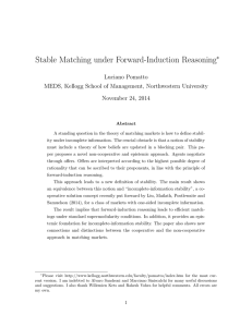 Stable Matching under Forward-Induction Reasoning ∗ Luciano Pomatto