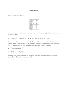 Homework 11: Due Wednesday 7/7/14 x f(x)