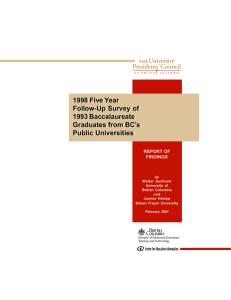 1998 Five Year Follow-Up Survey of 1993 Baccalaureate Graduates from BC's