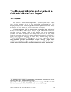 Tree Biomass Estimates on Forest Land in California's North Coast Region 1