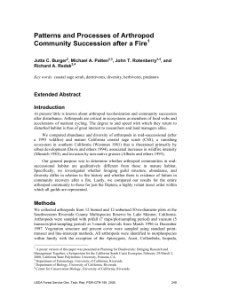 Patterns and Processes of Arthropod Community Succession after a Fire Extended Abstract Introduction