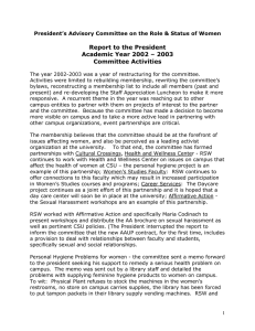 Report to the President Academic Year 2002 – 2003 Committee Activities