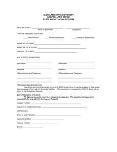 CLEVELAND STATE UNIVERSITY CONTROLLER'S OFFICE STAFF AGENCY ACCOUNT FORM