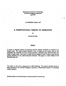 A  COMPUTATIONAL  THEORY  OF  ANIMATION by