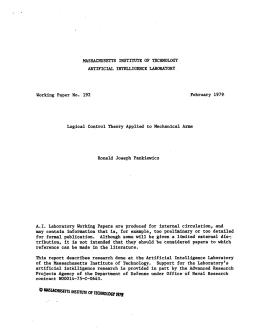 MASSACHUSETTS ARTIFICIAL  INTELLIGENCE  LABORATORY 192 1979.