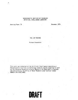 TECHNOLOGY ARTIFICIAL  INTELLIGENCE LABORATORY November  1974 Working Paper 79