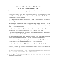 University of Utah, Department of Mathematics Spring 2009, Algebra Preliminary Exam S p