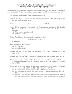 University of Utah, Department of Mathematics January 2013, Algebra Qualifying Exam