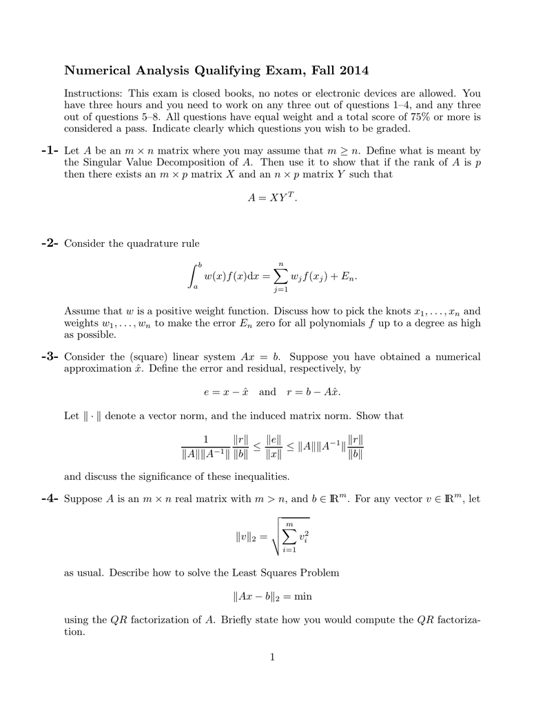 Numerical Analysis Qualifying Exam, Fall 2014
