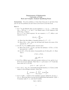 Departement of Mathematics University of Utah Real and Complex Analysis Qualifying Exam