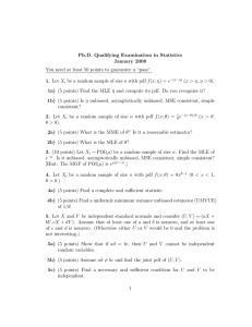 Ph.D. Qualifying Examination in Statistics January 2008