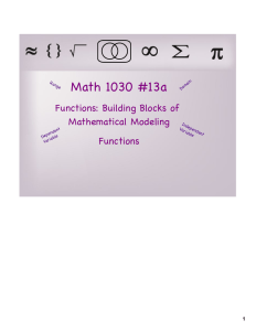Math 1030 #13a Functions: Building Blocks of Mathematical Modeling Functions