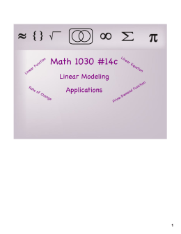 Math 1030 #14c Linear Modeling Applications 1