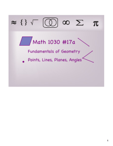 Math 1030 #17a Fundamentals of Geometry Points, Lines, Planes, Angles 1