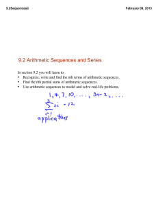 9.2 Arithmetic Sequences and Series