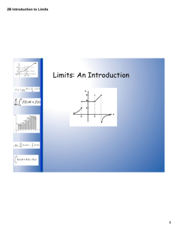 Limits: An Introduction 2B Introduction to Limits 1