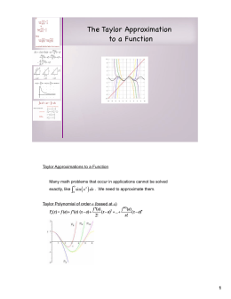 The Taylor Approximation to a Function