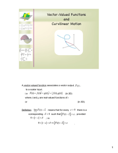 Vector-Valued Functions and Curvilinear Motion