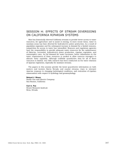 SESSION H: EFFECTS OF STREAM DIVERSIONS ON CALIFORNIA RIPARIAN SYSTEMS