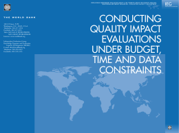 WORLD BANK INDEPENDENT EVALUATION GROUP & THE THEMATIC GROUP FOR... MONITORING AND IMPACT EVALUATION