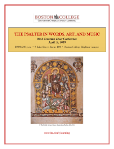 THE PSALTER IN WORDS, ART, AND MUSIC 2013 Corcoran Chair Conference