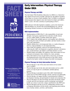 FACT SHEET Early Intervention: Physical Therapy Under IDEA