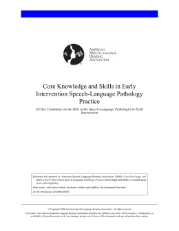 Core Knowledge and Skills in Early Intervention Speech-Language Pathology Practice
