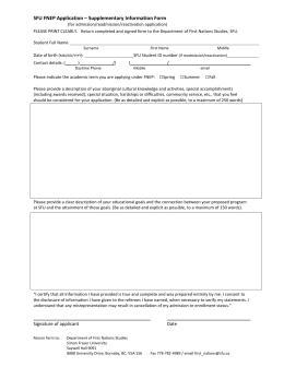 SFU FNEP Application – Supplementary Information Form
