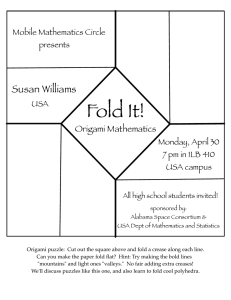 Fold It! Susan Williams Origami Mathematics Mobile Mathematics Circle