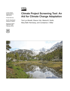 Climate Project Screening Tool: An Aid for Climate Change Adaptation