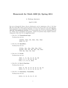 Homework for Math 2200 §2, Spring 2011 A. Treibergs, Instructor