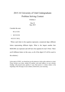 2015-16 University of Utah Undergraduate Problem Solving Contest