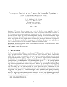 Convergence Analysis of Yee Schemes for Maxwell's Equations in