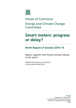 Smart meters: progress or delay? House of Commons Energy and Climate Change