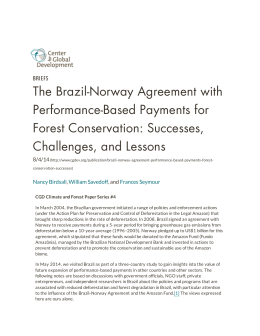 The Brazil-Norway Agreement with Performance-Based Payments for Forest Conservation: Successes, Challenges, and Lessons