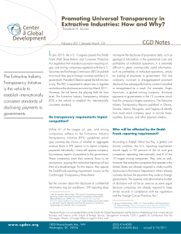 I CGD Notes Promoting Universal Transparency in Extractive Industries: How and Why?