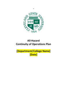 All-Hazard Continuity of Operations Plan  [Department/College Name]