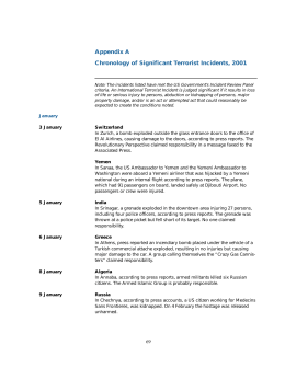 Appendix A Chronology of Significant Terrorist Incidents, 2001