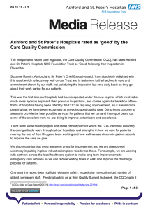 Ashford and St Peter's Hospitals rated as 'good' by the