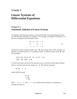 Linear Systems of Differential Equations Chapter 5 Automatic Solution of Linear Systems