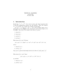 tropical algebra 1 Introduction